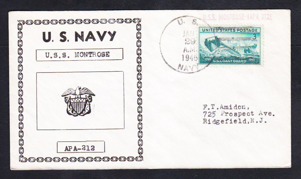 Attack Transport USS MONTROSE APA-212 SL Cancel 1946 Naval Cover