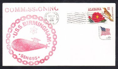 Attack Submarine USS BIRMINGHAM SSN-695 COMMISSIONING Naval Cover