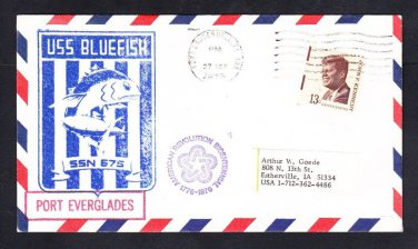Submarine USS BLUEFISH SSN-675 Port Everglades FL Naval Cover