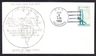 USS CALCATERRA DER-390 World Cruise Ports of Call Transit Naval Cover