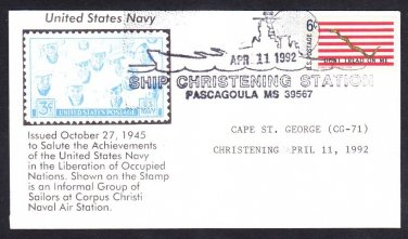 Cruiser USS CAPE ST. GEORGE CG-71 CHRISTENING Naval Cover