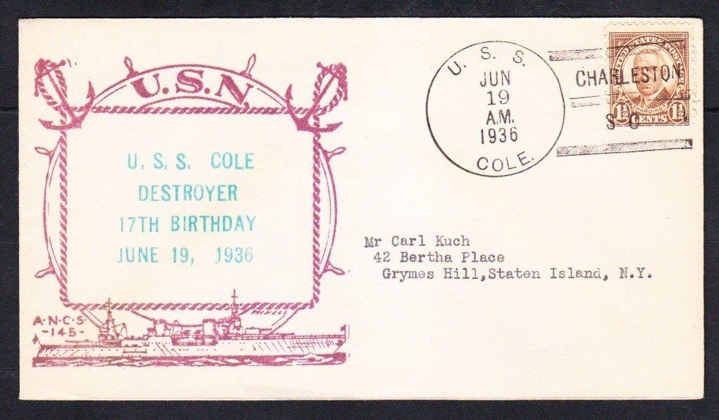 Destroyer USS COLE DD-155 17th Birthday Charleston SC 1936 Naval Cover