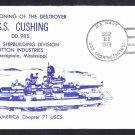 Destroyer USS CUSHING DD-985 COMMISSIONING Naval Cover
