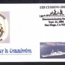 Destroyer USS CUSHING DD-985 DECOMMISSIONING Naval Cover
