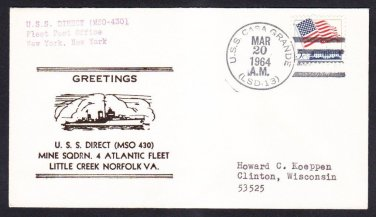 Minesweeper USS DIRECT MSO-430 Greetings Norfolk VA Naval Cover
