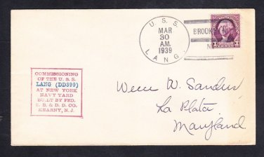 WWII Destroyer USS LANG DD-399 COMMISSIONING Brooklyn NY Naval Cover