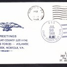 Tank Landing Ship USS GRANT COUNTY LST-1174 Greetings Norfolk VA Naval Cover