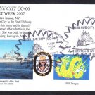 Cruiser USS HUE CITY CG-66 Fleet Week Staten Island NY Fancy Cancel Naval Cover