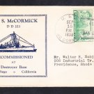 Destroyer USS MCCORMICK DD-223 DECOMMISSIONING 1938 Naval Cover