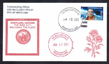 Guided Missile Frigate USS McCLUSKY FFG-41 Portland Oregon Naval Cover