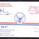 Cruiser USS TICONDEROGA CG-47 KEEL LAYING Naval Cover