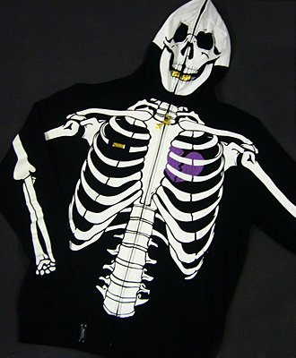 Blk LRG Dead Serious Hoodie - (Mesh Eyes, Glow in the Dark Skeleton, Full Zip-Back)