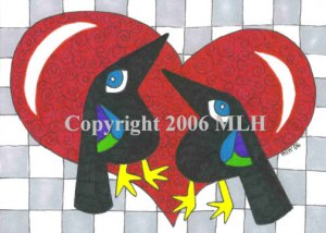 Crows in Love (aceo print)