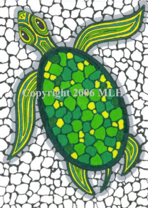 Turtle on the Rocks (aceo print)