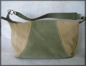 Liz Claiborne Natural Leather and Suede Handbag - Hobo Style Purse - FREE Shipping