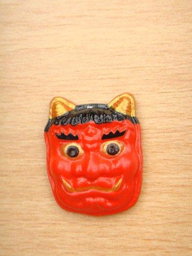 Japanese Mini Noh Mask Kabuki Kagura Traditional Aka Oni Mask Model Figure