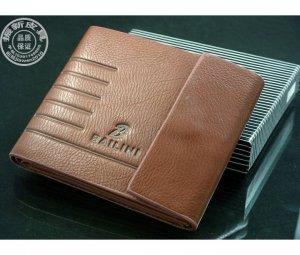 Men's Bailini Designer Brown Leather Bi- Fold Wallet