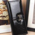 Women  Black Leather Checkbook Organizer Wallet