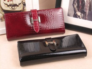 Women  Red Leather Checkbook Organizer Wallet
