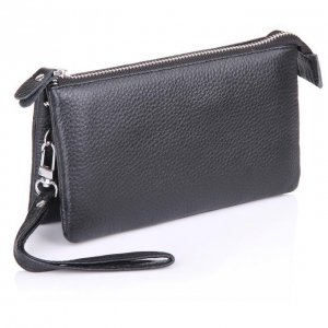 Black  Leather wristlet clutch bag
