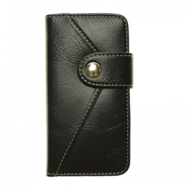 Luxury Black Leather Card Wallet Case Stand Cover for iPhone 5