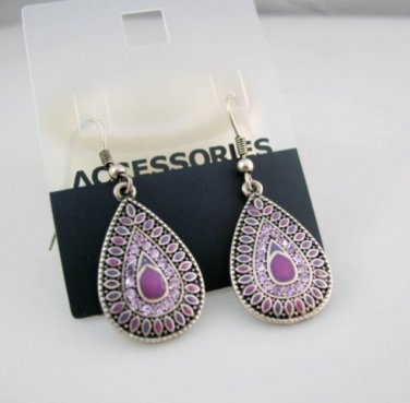 Classic Purple Vintage Antique Fashion Drop Pierced Earrings