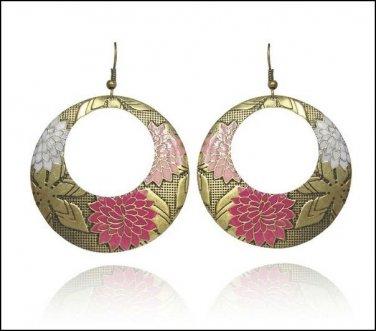 Vintage Pink Flower Drop Piereced Earrings
