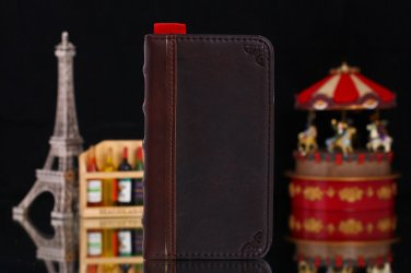 Men and Women Brown Book Leather Wallet Case Stand for Galaxy 4