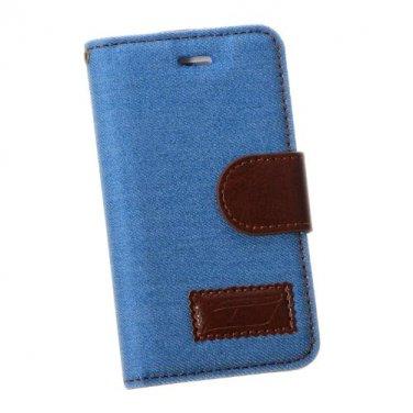 Light Blue Jean Leather Design Wallet Case For iphone 4