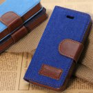 Blue Jean Leather Design Wallet Case For iphone 5