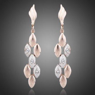 18K Rose Gold Plated Two Tone Rhinestone Pierced Earrings