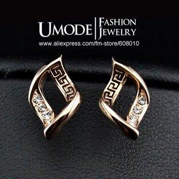 18K Rose Gold Plated Pierced Studed Austrian Rhinestones Earrings