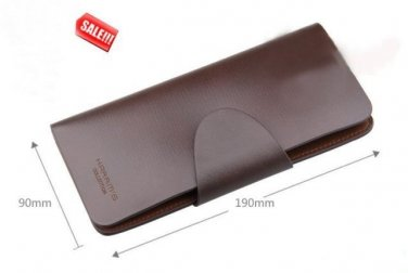 NEW! Harrm's Men Long Brown Designer Snap Closure Leather Wallet