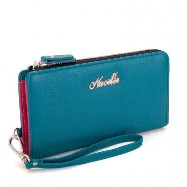 Nucelle Women Turquoise Blue colored Leather clutch Checkbook Wallet