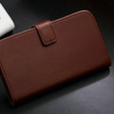 Brown Leather Wallet Case for Samsung Galaxy 3 with Stand