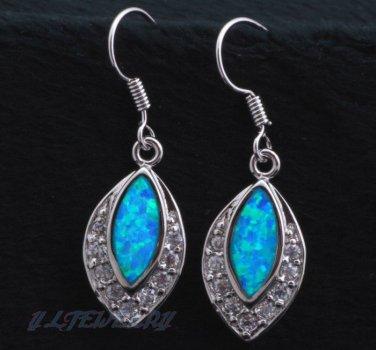 Blue Fire Opal Sterling Silver Dangleling Earrings