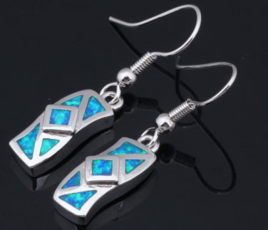 Blue Opal Drop Pierced Earrings In Sterling Silver