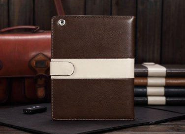 Brown Luxury Leather Case Cover With Magnetic Closure for iPad 2 3 4
