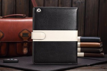Black Luxury Leather Case Cover With Magnetic Closure for iPad 2 3 4