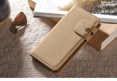"""New! Beige Suede Leather Wallet Stand Case For iPhone 6 (4.7"""")"""