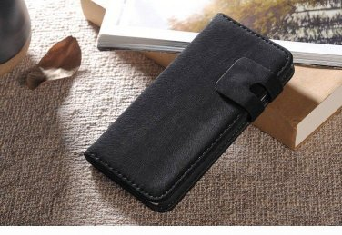 """New! Black Suede Leather Wallet Stand Case For iPhone 6 (4.7"""")"""
