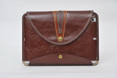 "New! 9.7"" Brown Leather Stand Case For Ipad 2 3 4 with Rotating Belt"