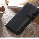 Black Suede Leather Wallet Stand Case For iPhone 5