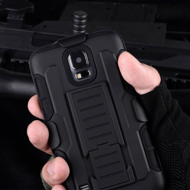 Samsung Galaxy 5 Black Armor Swivel Belt Clip Holster Hard Case Stand