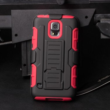Samsung Galaxy 5 Red Armor Swivel Belt Clip Holster Hard Case Stand