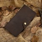 New ! Men and Women Hand Made Bi-fold Leather Long Brown Wallet.