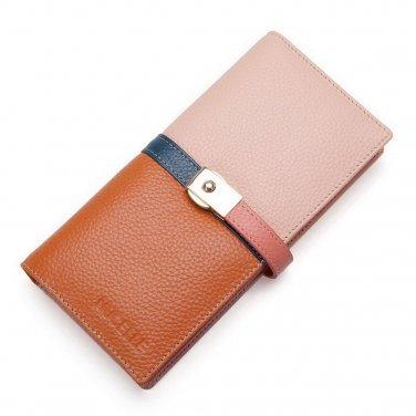 Nucelle Women Designer Pink Leather Checkbook Clutch Wallet