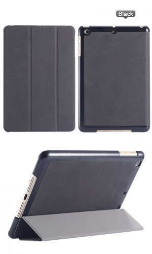 iPad Mini 1 2 & 3 Black Leather Slim Stand Case Cover