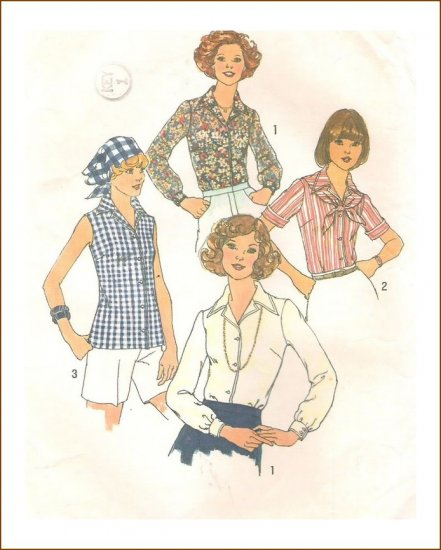 Misses Blouse Scarf Sewing Pattern Vintage Simplicity 7353 Size 14