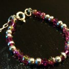 0-6 Months: Fuschia Czech Glass Baby & Toddler Bracelet